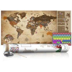 KAPARÓS TÉRKÉP - VINTAGE MAP - POSTER, Kaparós világtérkép vászonkép 100 x 50 cm angol nyelvű - fehér hengerben