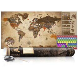 KAPARÓS TÉRKÉP - VINTAGE MAP - POSTER, Kaparós világtérkép vászonkép 100 x 50 cm angol nyelvű - barna hengerben
