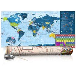 KAPARÓS TÉRKÉP - BLUE MAP - POSTER, Kaparós világtérkép vászonkép 100 x 50 cm angol nyelvű - krémszínű hengerben