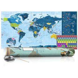 KAPARÓS TÉRKÉP - BLUE MAP - POSTER, Kaparós világtérkép vászonkép 100 x 50 cm angol nyelvű - zöld hengerben