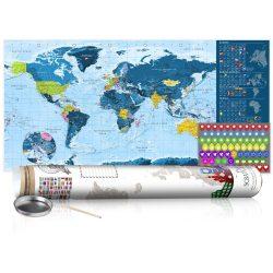 KAPARÓS TÉRKÉP - BLUE MAP - POSTER, Kaparós világtérkép vászonkép 100 x 50 cm angol nyelvű - fehér hengerben