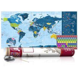 KAPARÓS TÉRKÉP - BLUE MAP - POSTER, Kaparós világtérkép vászonkép 100 x 50 cm angol nyelvű - bordó hengerben
