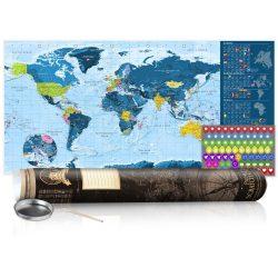 KAPARÓS TÉRKÉP - BLUE MAP - POSTER, Kaparós világtérkép vászonkép 100 x 50 cm angol nyelvű - barna hengerben