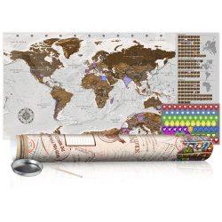 KAPARÓS TÉRKÉP - GREY MAP - POSTER, Kaparós világtérkép vászonkép 100 x 50 cm angol nyelvű - krémszínű hengerben
