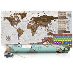 KAPARÓS TÉRKÉP - GREY MAP - POSTER, Kaparós világtérkép vászonkép 100 x 50 cm angol nyelvű - zöld hengerben