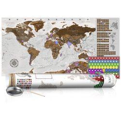 KAPARÓS TÉRKÉP - GREY MAP - POSTER, Kaparós világtérkép vászonkép 100 x 50 cm angol nyelvű - fehér hengerben