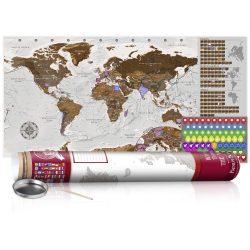 KAPARÓS TÉRKÉP - GREY MAP - POSTER, Kaparós világtérkép vászonkép 100 x 50 cm angol nyelvű - bordó hengerben