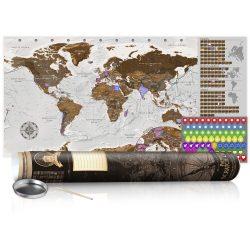 KAPARÓS TÉRKÉP - GREY MAP - POSTER, Kaparós világtérkép vászonkép 100 x 50 cm angol nyelvű - barna hengerben