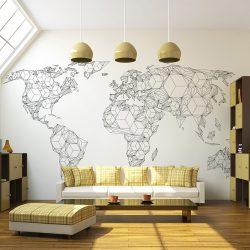 Fotótapéta térkép - Map of the World - white solids Világtérkép 200x154