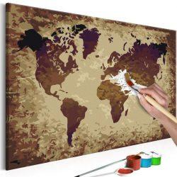 Kifestő Világtérkép, falitérkép - World Map (Brown Colours) 60x40