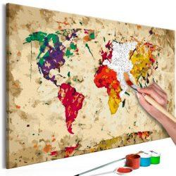 Kifestő Világtérkép, falitérkép - World Map (Colour Splashes) 60x40