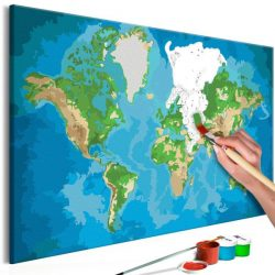 Kifestő Világtérkép, falitérkép - World Map (Blue & Green) 60x40