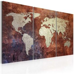 Kép - falitérkép - Rusty map of the World - triptych Világtérkép 120x80