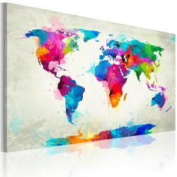 Kép - falitérkép - Map of the world - an explosion of colors Világtérkép 60x40