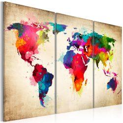 Kép parafán - Rainbow Continents  [Cork Map]  Parafa világtérkép - vászonkép 120x80