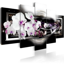 Kép - Orchids on a black background 100x50