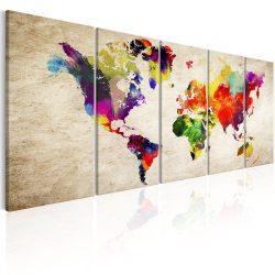 Kép - falitérkép - World Map: Painted World Világtérkép 200x80