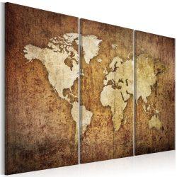 Kép - falitérkép - World Map: Brown Texture Világtérkép 120x80