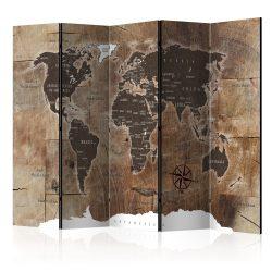 Paraván térkép - Room divider – Map on the wood Világtérkép 225x172