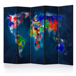 Paraván térkép - Room divider – Colorful map Világtérkép 225x172