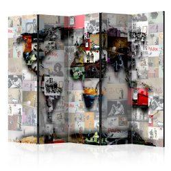 Paraván térkép - Room divider – World map – Világtérkép 225x172