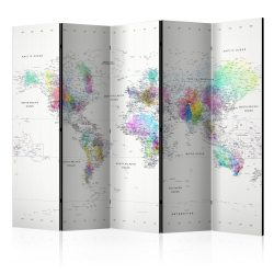 Paraván térkép - Room divider – White-colorful world map Világtérkép 225x172