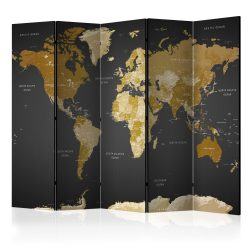 Paraván térkép - Room divider - World map on dark background Világtérkép 225x172