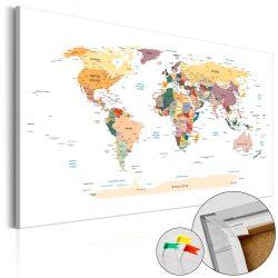 Kép parafán - World Map [Cork Map]  Parafa világtérkép - vászonkép 120x80