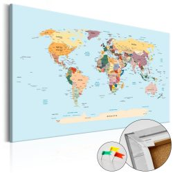 Kép parafán - Travel with Me [Cork Map]  Parafa világtérkép - vászonkép 120x80