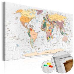 Kép parafán - World's Walls [Cork Map]  Parafa világtérkép - vászonkép 120x80