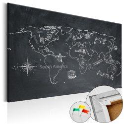 Kép parafán - Travel broadens the Mind [Cork Map]  Parafa világtérkép - vászonkép 120x80