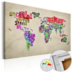 Kép parafán - Global Tournée (EN) [Cork Map]  Parafa világtérkép - vászonkép 120x80