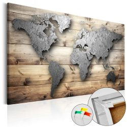 Kép parafán - Silver World [Cork Map]  Parafa világtérkép - vászonkép 120x80