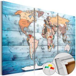 Kép parafán - Sapphire Travels [Cork Map]  Parafa világtérkép - vászonkép 120x80