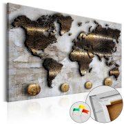Kép parafán - Golden Journey [Cork Map]  Parafa világtérkép - vászonkép 120x80