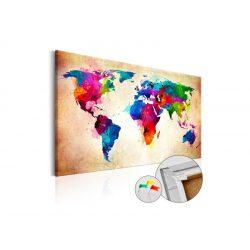 Kép parafán - Colourful Ranger  [Cork Map]  Parafa világtérkép - vászonkép 90x60
