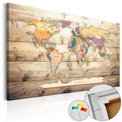 Kép parafán - The World at Your Fingertips [Cork Map]  Parafa világtérkép - vászonkép 90x60
