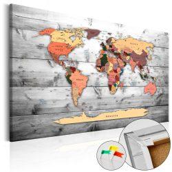 Kép parafán - Direction World [Cork Map]  Parafa világtérkép - vászonkép 120x80