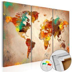 Kép parafán - Painted World [Cork Map]  Parafa világtérkép - vászonkép 120x80