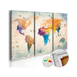 Kép parafán - Free as a bird [Cork Map]  Parafa világtérkép - vászonkép 120x80