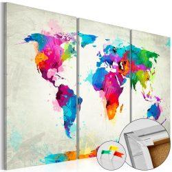 Kép parafán - Colourful Expression [Cork Map]  Parafa világtérkép - vászonkép 120x80