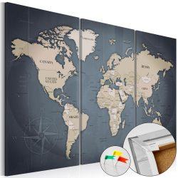 Kép parafán - Anthracitic World [Cork Map]  Parafa világtérkép - vászonkép 90x60