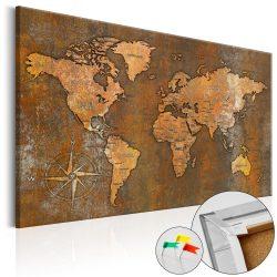 Kép parafán - Rusty World [Cork Map]  Parafa világtérkép - vászonkép 120x80