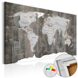 Kép parafán - World of Wood [Cork Map]  Parafa világtérkép - vászonkép 120x80