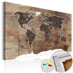 Kép parafán - Wooden Mosaic [Cork Map]  Parafa világtérkép - vászonkép 120x80