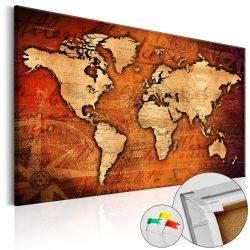 Kép parafán - Amber World [Cork Map]  Parafa világtérkép - vászonkép 90x60
