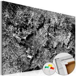 Kép parafán - Grey Thread [Cork Map]  Parafa világtérkép - vászonkép 120x80