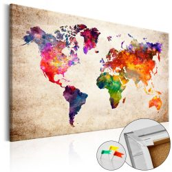 Kép parafán - Colourful Universe  [Cork Map]  Parafa világtérkép - vászonkép 120x80