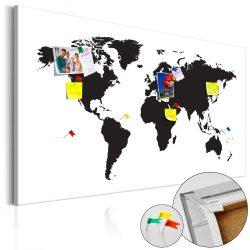 Kép parafán - World Map: Black & White Elegance [Cork Map]  Parafa világtérkép - vászonkép 120x80