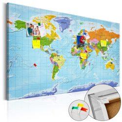 Kép parafán - World Map: Countries Flags [Cork Map]  Parafa világtérkép - vászonkép 120x80